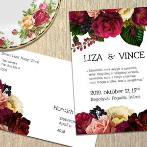 Esküvői meghívó vintage virágokkal, Meghívó, Meghívó & Kártya, Esküvő, Fotó, grafika, rajz, illusztráció, Vintage jellegű virágok díszítik ezt a meghívót. \n\nNINCS SZERKESZTÉSI DÍJ!\nVéleményem szerint a megf..., Meska