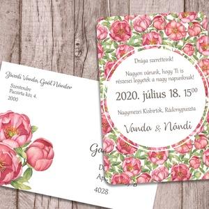 Esküvői meghívó virágos tapétamintával, Esküvő, Meghívó, ültetőkártya, köszönőajándék, Naptár, képeslap, album, Otthon & lakás, Képeslap, levélpapír, Fotó, grafika, rajz, illusztráció, Ennek a meghívónak a háttere egy folytonos virágminta, olyan, mint egy tapéta. A képek között többfé..., Meska