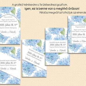 Esküvői meghívó kék hortenzia mintával (viori) - Meska.hu