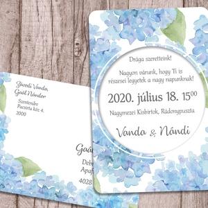 Esküvői meghívó kék hortenzia mintával, Esküvő, Meghívó, ültetőkártya, köszönőajándék, Naptár, képeslap, album, Otthon & lakás, Képeslap, levélpapír, Fotó, grafika, rajz, illusztráció, A meghívót kék színű, akvarell hortenziák díszítik. A képek között többféle variációt is bemutatok, ..., Meska
