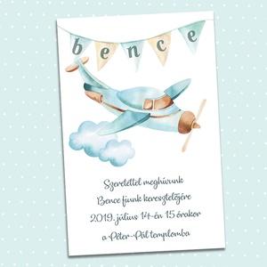 Kisfiú meghívó keresztelőre, névadóra, szülinapra, Otthon & Lakás, Papír írószer, Meghívó, Fotó, grafika, rajz, illusztráció, A felhők felett egy kék repülő száll, a girlandra a gyermek neve kerül a meghívóra, melyet többféle ..., Meska