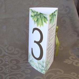 Menü-asztalszám esküvőre - kövirózsa mintával, Esküvő, Esküvői dekoráció, Meghívó, ültetőkártya, köszönőajándék, Fotó, grafika, rajz, illusztráció, Ez a háromszögbe hajtott forma nagyon praktikus: megáll a saját lábán az asztalon, és a három oldalá..., Meska