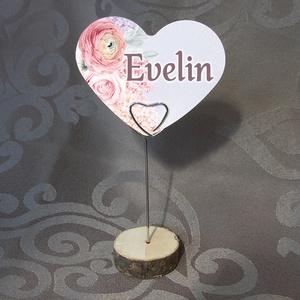 SZÍV alakú ültetőkártya esküvőre, rendezvényre, Esküvő, Esküvői dekoráció, Meghívó, ültetőkártya, köszönőajándék, Fotó, grafika, rajz, illusztráció, Ez a szív alakú ültetőkártya praktikus és stílusos dísze a terítéknek a szerelem ünnepén.\n\nKét méret..., Meska