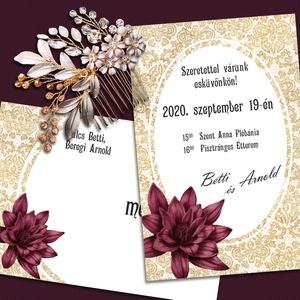 Esküvői meghívó csipkés háttérrel, Meghívó, Meghívó & Kártya, Esküvő, Fotó, grafika, rajz, illusztráció, A meghívó alapjául arany színű csipkeminta szolgál. Ha nem szereted az aranyat, más színű csipkével ..., Meska