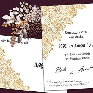Esküvői meghívó csipke mintával, Esküvő, Meghívó, ültetőkártya, köszönőajándék, Otthon & lakás, Naptár, képeslap, album, Fotó, grafika, rajz, illusztráció, A meghívót arany színű csipkeminta díszíti. Ha nem szereted az aranyat, más színű csipkével is szíve..., Meska