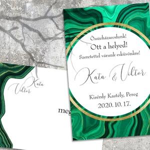 Esküvői meghívó zöld malahit, Esküvő, Meghívó, ültetőkártya, köszönőajándék, Otthon & lakás, Naptár, képeslap, album, Képeslap, levélpapír, Fotó, grafika, rajz, illusztráció, A természet csodálatos festményei a kőzetek. Ezen a meghívó sorozaton a mélyzöld malahit mintázatába..., Meska