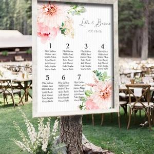 Ülésrend esküvőre - tavaszi bokrétákkal, Esküvő, Esküvői dekoráció, Meghívó, ültetőkártya, köszönőajándék, Fotó, grafika, rajz, illusztráció, Bármilyen egyedi feliratot, táblát megrendelhetsz nálam, bármilyen méretben, az általad kért grafiká..., Meska