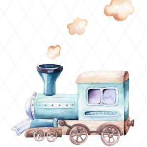 repülők, mozdonyok - képek gyerekszobába, babaszobába, Otthon & lakás, Lakberendezés, Gyerek & játék, Gyerekszoba, Baba falikép, Falikép, Dekoráció, Kép, Fotó, grafika, rajz, illusztráció, Igényes akvarell-sorozat a kisfiúk kedvenceivel: mozdonnyal és repülővel. \nA festményeket kiváló min..., Meska