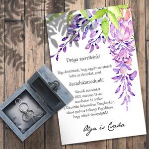 Esküvői meghívó lila akác, Esküvő, Meghívó, ültetőkártya, köszönőajándék, Fotó, grafika, rajz, illusztráció, Dúsan leomló lila akácok díszítik ezt a meghívó-sorozatot - sokféle elrendezés közül választhatsz.\n\n..., Meska