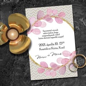 Esküvői meghívó borítékban - modern chevron mintával, Esküvő, Meghívó, ültetőkártya, köszönőajándék, Fotó, grafika, rajz, illusztráció, A háttérben az arany chevron minta teszi nagyon trendivé ezt a meghívó-sorozatot, a finom, pasztell ..., Meska