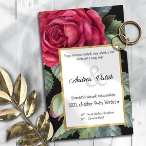 Esküvői meghívó klasszikus vörös rózsa grafikával, Esküvő, Meghívó, ültetőkártya, köszönőajándék, Otthon & lakás, Naptár, képeslap, album, Képeslap, levélpapír, Fotó, grafika, rajz, illusztráció, A legklasszikusabb virág, amellyel egy férfi kifejezheti érzéseit egy nő iránt: a vörös rózsa. Ebben..., Meska