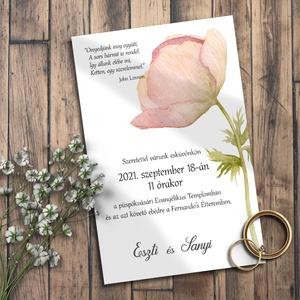 Esküvői meghívó pasztell mezei virág, Meghívó, Meghívó & Kártya, Esküvő, Fotó, grafika, rajz, illusztráció, Egy kedves mezei virág díszíti ezt a meghívót, visszafogott pasztellrózsaszín színben. \n\nNINCS SZERK..., Meska