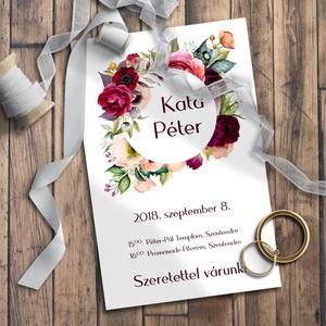 Esküvői meghívó virágözön, Esküvő, Meghívó, Meghívó & Kártya, Fotó, grafika, rajz, illusztráció, Meska