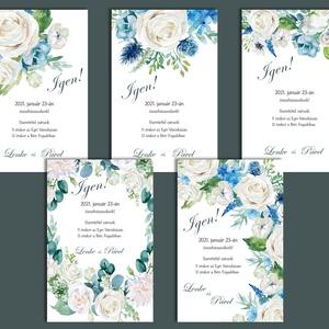 Esküvői meghívó különleges borítékban - fehér és kék virágokkal (viori) - Meska.hu