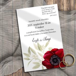 Esküvői meghívó tarka virágos, Esküvő, Meghívó, Meghívó & Kártya, Egy nagy, bordó, festett virág a dísze ennek a meghívónak.  NINCS SZERKESZTÉSI DÍJ! Véleményem szeri..., Meska