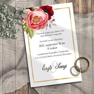 Esküvői meghívó tarka virágos, Esküvő, Meghívó, Meghívó & Kártya, Színpompás virágok, klasszikus elrendezésben, egy kis arany csillogással.  NINCS SZERKESZTÉSI DÍJ! V..., Meska