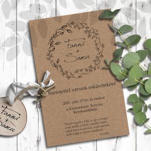 Esküvői meghívó koszorú, Esküvő, Meghívó, Meghívó & Kártya, Minimalista stílusban rajzolt vadvirágokból álló koszorú díszíti ezeket a meghívókat.  Igazán ruszti..., Meska