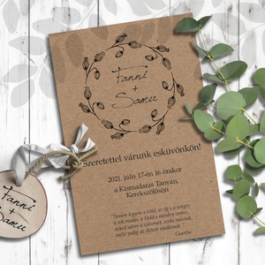 Esküvői meghívó koszorú, Esküvő, Meghívó, Meghívó & Kártya, Minimalista stílusban rajzolt vadvirágokból álló koszorú díszíti ezeket a meghívókat. Igazán rusztik..., Meska