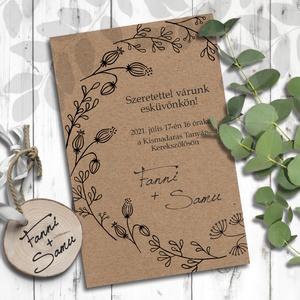 Esküvői meghívó koszorú, Meghívó, Meghívó & Kártya, Esküvő, Fotó, grafika, rajz, illusztráció, Minimalista stílusban rajzolt vadvirágokból álló koszorú díszíti ezeket a meghívókat. Igazán rusztik..., Meska