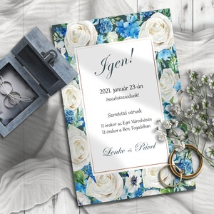 Esküvői meghívó fehér és kék virágokkal, Meghívó, Meghívó & Kártya, Esküvő, Fotó, grafika, rajz, illusztráció, Törtfehér rózsák és kék színű apróbb virágok keretezik ezt a meghívót. \n\nNINCS SZERKESZTÉSI DÍJ!\nVél..., Meska