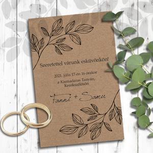 Esküvői meghívó borítékban - leveles vonalrajz (viori) - Meska.hu
