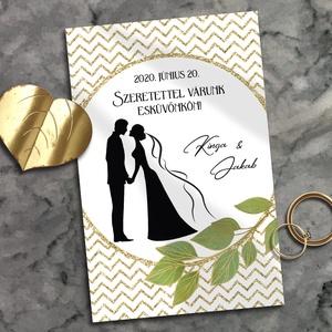 Esküvői meghívó arany chevron minta sziluettel, Esküvő, Meghívó, ültetőkártya, köszönőajándék, Otthon & lakás, Naptár, képeslap, album, Képeslap, levélpapír, Fotó, grafika, rajz, illusztráció, Trendi chevron minta a legelegánsabb színösszeállításban: fehér arannyal. A meghívót egy menyasszony..., Meska