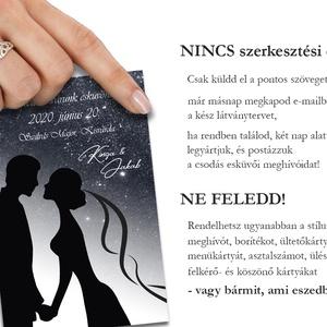 Esküvői meghívó borítékban - jegyespár sziluett (viori) - Meska.hu