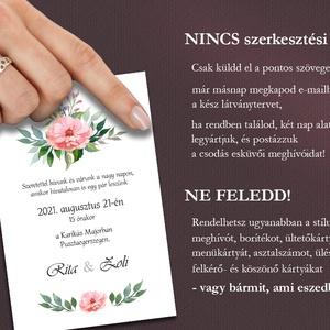 Esküvői meghívó borítékban - sötétrózsaszínű virágokkal (viori) - Meska.hu