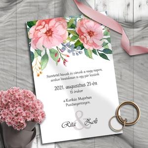 Esküvői meghívó sötétrózsaszínű virágokkal, Esküvő, Meghívó, ültetőkártya, köszönőajándék, Otthon & lakás, Naptár, képeslap, album, Képeslap, levélpapír, Fotó, grafika, rajz, illusztráció, Ennek a mintakollekciónak a központi motívuma egy kedves rózsaszín virág, melyet leveles és bogyós á..., Meska