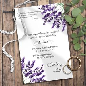 Esküvői meghívó levendula, Meghívó, Meghívó & Kártya, Esküvő, Fotó, grafika, rajz, illusztráció, Kékeslilás levendulával díszítettem ezeket a meghívókat. Sokféle elrendezésben variáltam - válaszd k..., Meska