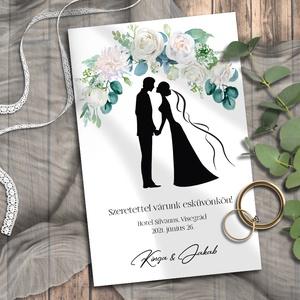 Esküvői meghívó jegyespár sziluett, Meghívó, Meghívó & Kártya, Esküvő, Fotó, grafika, rajz, illusztráció, Virágkapu alatt álló menyasszony-vőlegény sziluett - pont, mint az esküvőn!\n\nNINCS SZERKESZTÉSI DÍJ!..., Meska