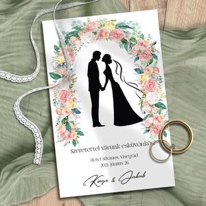 Esküvői meghívó jegyespár sziluett virágkapu alatt, Meghívó, Meghívó & Kártya, Esküvő, Fotó, grafika, rajz, illusztráció, Virágkapu alatt álló menyasszony-vőlegény sziluett - pont, mint az esküvőn!\n\nNINCS SZERKESZTÉSI DÍJ!..., Meska