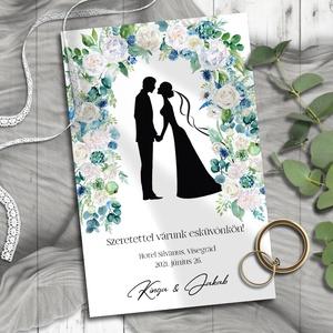 Esküvői meghívó jegyespár sziluett virágkapu alatt, Esküvő, Meghívó, ültetőkártya, köszönőajándék, Otthon & lakás, Naptár, képeslap, album, Képeslap, levélpapír, Fotó, grafika, rajz, illusztráció, Virágkapu alatt álló menyasszony-vőlegény sziluett - pont, mint az esküvőn!\n\nNINCS SZERKESZTÉSI DÍJ!..., Meska