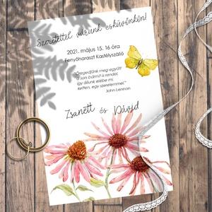 Esküvői meghívó vadvirágok akvarellel festve, Meghívó, Meghívó & Kártya, Esküvő, Fotó, grafika, rajz, illusztráció, Kedves vadvirágok akvarellel festve. \nEhhez a kollekcióhoz kevés színt használtam, de azoknak sok-so..., Meska