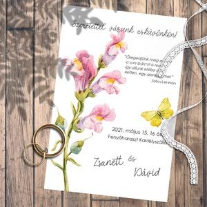 Esküvői meghívó vadvirágok akvarellel festve, Esküvő, Meghívó, ültetőkártya, köszönőajándék, Otthon & lakás, Naptár, képeslap, album, Képeslap, levélpapír, Fotó, grafika, rajz, illusztráció, Kedves vadvirágok akvarellel festve. \nEhhez a kollekcióhoz kevés színt használtam, de azoknak sok-so..., Meska