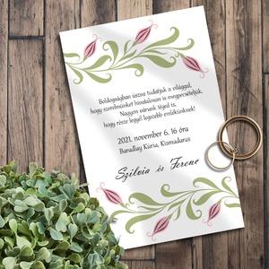 Esküvői meghívó folk art inda, Esküvő, Meghívó, ültetőkártya, köszönőajándék, Otthon & lakás, Naptár, képeslap, album, Képeslap, levélpapír, Fotó, grafika, rajz, illusztráció, Skandináv jellegű, folk art stílusú leveles-bimbós inda motívum a központi eleme ezeknek a meghívókn..., Meska