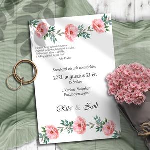Esküvői meghívó rózsaszín virágos koszorú, Meghívó, Meghívó & Kártya, Esküvő, Fotó, grafika, rajz, illusztráció, Kedves rózsaszín virágokból kötött koszorú a dísze ezeknek a meghívóknak.\n\nNINCS SZERKESZTÉSI DÍJ!\nV..., Meska