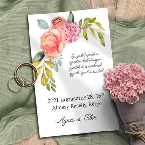 Esküvői meghívó tarka virág bokréta, Meghívó, Meghívó & Kártya, Esküvő, Fotó, grafika, rajz, illusztráció, Vidám, színes virágokból kötött bokréták díszítik ezeket a meghívókat. A sokféle elrendezés közül vá..., Meska