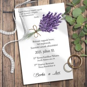 Esküvői meghívó levendula, Meghívó, Meghívó & Kártya, Esküvő, Fotó, grafika, rajz, illusztráció, Kékeslilás levendulával díszítettem ezeket a meghívókat - egy-két szállal csupán. Sokféle elrendezés..., Meska