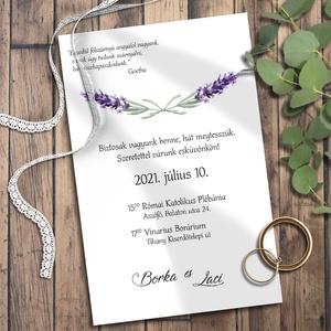 Esküvői meghívó levendula - Meska.hu