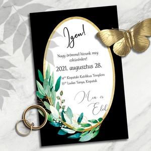 Esküvői meghívó: arany ovális keret greenery ágakkal, Meghívó, Meghívó & Kártya, Esküvő, Fotó, grafika, rajz, illusztráció, Nagyon elegánsak ezek az arany színű geometrikus keretek. A formák szigorúságát a dúsan leomló zöldl..., Meska