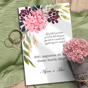 Esküvői meghívó tarka virág bokréta, Esküvő, Meghívó, ültetőkártya, köszönőajándék, Otthon & lakás, Naptár, képeslap, album, Képeslap, levélpapír, Fotó, grafika, rajz, illusztráció, Vidám, színes virágokból kötött bokréták díszítik ezeket a meghívókat. Az élénk rózsaszín szépen érv..., Meska