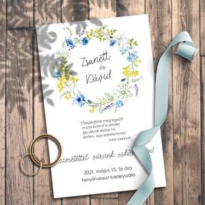 Esküvői meghívó vadvirág koszorú, Esküvő, Meghívó, ültetőkártya, köszönőajándék, Otthon & lakás, Naptár, képeslap, album, Képeslap, levélpapír, Fotó, grafika, rajz, illusztráció, Sok-sok tarka vadvirágból font koszorú díszíti ezeket a meghívókat, kisebb-nagyobb méretben.\n\nNINCS ..., Meska