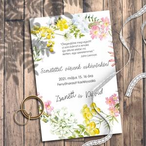 Esküvői meghívó vadvirág koszorú, Esküvő, Meghívó, ültetőkártya, köszönőajándék, Fotó, grafika, rajz, illusztráció, Sok-sok tarka vadvirágból font koszorú díszíti ezeket a meghívókat, kisebb-nagyobb méretben.\n\nNINCS ..., Meska