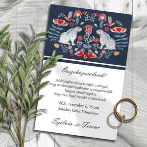 Esküvői meghívó folk art állatkák nyúl, Esküvő, Meghívó, ültetőkártya, köszönőajándék, Fotó, grafika, rajz, illusztráció, Skandináv jellegű, folk art stílusú állatok párosai. Ezeken a mintákon virágmotívumok keretezik a pá..., Meska