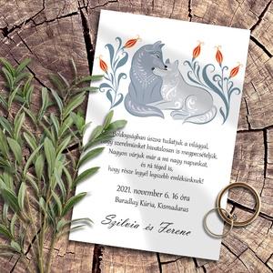 Esküvői meghívó folk art állatkák farkas, Esküvő, Meghívó, ültetőkártya, köszönőajándék, Otthon & lakás, Naptár, képeslap, album, Képeslap, levélpapír, Fotó, grafika, rajz, illusztráció, Skandináv jellegű, folk art stílusú állatok párosai. Ezeken a mintákon virágmotívumok keretezik a pá..., Meska