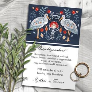 Esküvői meghívó folk art állatkák gólya, Esküvő, Meghívó, ültetőkártya, köszönőajándék, Fotó, grafika, rajz, illusztráció, Skandináv jellegű, folk art stílusú állatok párosai. Ezeken a mintákon virágmotívumok keretezik a pá..., Meska