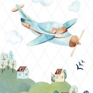 Hegyen-völgyön repülők, mozdonyok - képek gyerekszobába, babaszobába, Kép & Falikép, Dekoráció, Otthon & Lakás, Fotó, grafika, rajz, illusztráció, Igényes akvarell-sorozat a kisfiúk kedvenceivel: mozdonnyal és repülővel. \nA festményeket kiváló min..., Meska
