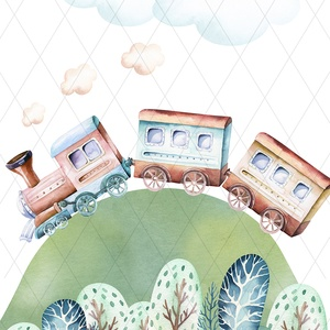 Hegyen-völgyön repülők, mozdonyok - képek gyerekszobába, babaszobába, Otthon & lakás, Lakberendezés, Gyerek & játék, Gyerekszoba, Baba falikép, Falikép, Dekoráció, Kép, Fotó, grafika, rajz, illusztráció, Igényes akvarell-sorozat a kisfiúk kedvenceivel: mozdonnyal és repülővel. \nA festményeket kiváló min..., Meska