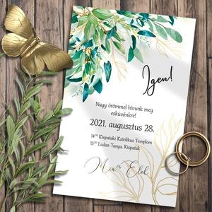 Esküvői meghívó zöldellő ágakkal, Esküvő, Meghívó, ültetőkártya, köszönőajándék, Otthon & lakás, Naptár, képeslap, album, Képeslap, levélpapír, Fotó, grafika, rajz, illusztráció, A dúsan leomló leveles ágakat a zöld szín sokféle árnyalata teszi olyan mozgalmassá, plusz egy csipe..., Meska